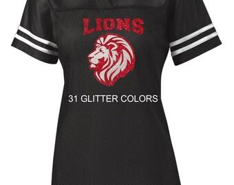 Women's Glitter Bling Lions Mesh Jersey