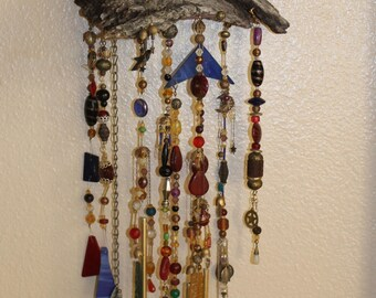 Handmade Wind Chime, Vintage Stained Glass - Beads - Wood, Beautiful Music, Chimes, Venezia, Sydney