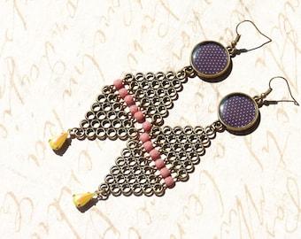FREE SHIPPING Polka Dots Geometric Dangle Earrings - Triangles Earrings - Geometric Jewelry - Summer Trends Jewelry - Colorful - Gift Ideas