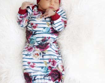Baby Layette Gown with Turban Headwrap | Burgundy Watercolor Floral | Preemie - 6m | Coming Home Outfit | Baby Girl Gift