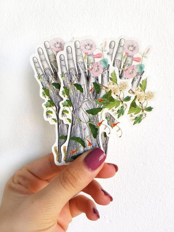 Human hand with flowers, Anatomy stickers , laptop stickers, Decal sticker, Medical student gift, Anatomical stickers, Mac Book decal STC017