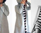 Women clothing, women hooded cardigan, women hooded jacket, long sweatshirt with hood, women jackets, organic cotton fleece, made in Italy