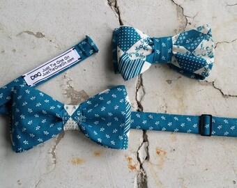 Blue Floral Bow Tie Set