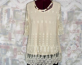 Vintage embroidered Sheer mesh with Teardrop Lace trims Top