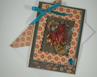 Thanksgiving Shaker Card, Handmade Thanksgiving Card, Thanksgiving Card, Fall, Leaves, Thanksgiving, Polka Dots, Autumn Card, Holiday Card