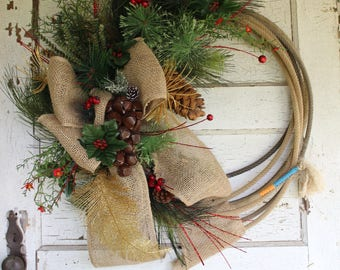 Western Rope Christmas Wreath, rustic Christmas wreath, country, lasso wreath, cowboy, farmhouse Christmas wreath, holiday, decor, ranch