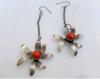 Handmade silver earrings with coral-21994