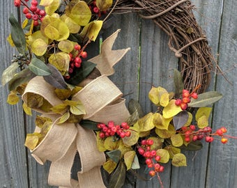 Fall Wreath - Fall / Everyday Wreath -  Green and Orange Natural Wreath with Leaves and Berries