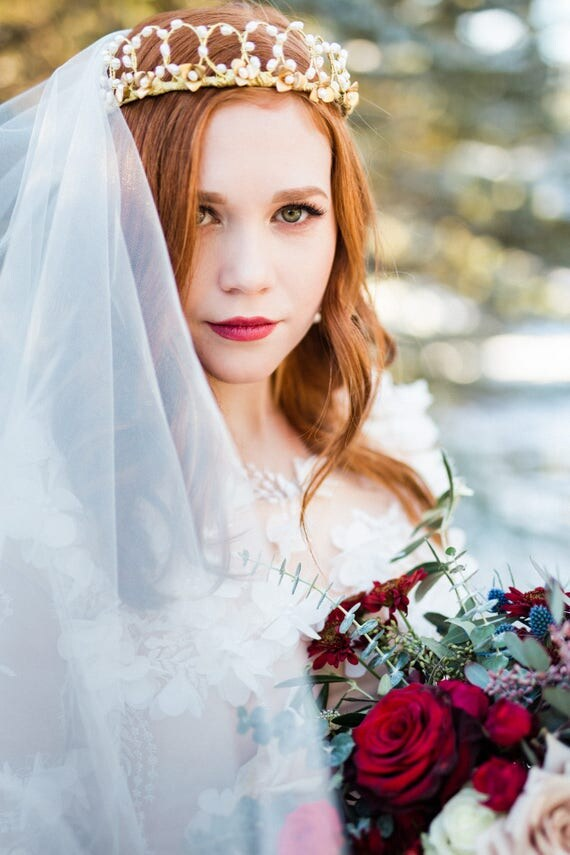 Bridal Tiara, Wedding Accessory, Gold Tiara, Pearl Tiara, Pearl Headband, Wedding Tiara, Bridal Pearl Crown, Bridal Crown, Pearl SNOW QUEEN