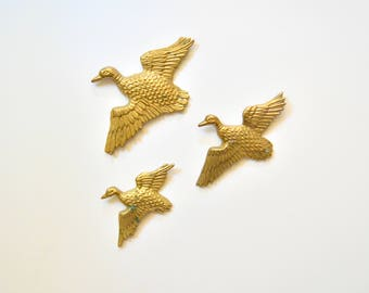 Trio Of Brass Duck Wall Hangings - Vintage Brass Nature Ducks Gold Bird Cabin Hunting Man Cave Mid Century Geese Bird Birds