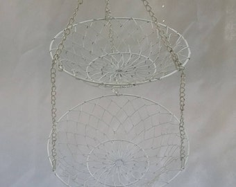 Small Rustic Two Tiered Hanging Wire Fruit Display Basket