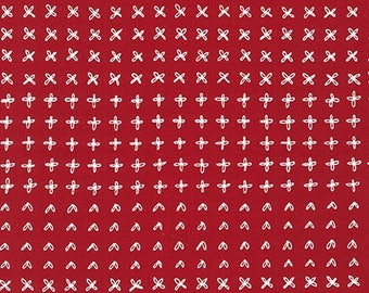 Blueberry Park Sprouting Row in Chinese Red, Karen Lewis Textiles, Robert Kaufman Fabrics, 100% Cotton Fabric, AWI-15752-359 CHINESE RED