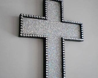 Decorative Wall Cross silver glitter & black wall cross decorative hand painted