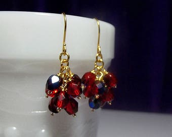 Red Blue AB Crystal Cluster Drop Gold Earrings, Christmas Gift, Mom Mother Gift Sister Birthday Girlfriend Gift Grandmother Bridesmaid