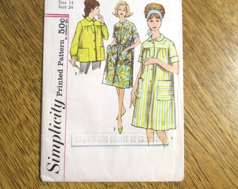 "Mid Century Modern 1950's Duster Jacket, Smock Top & House Coat - Size 14 (Bust 34"") - UNCUT FF Vintage Simplicity Sewing Pattern 4572"