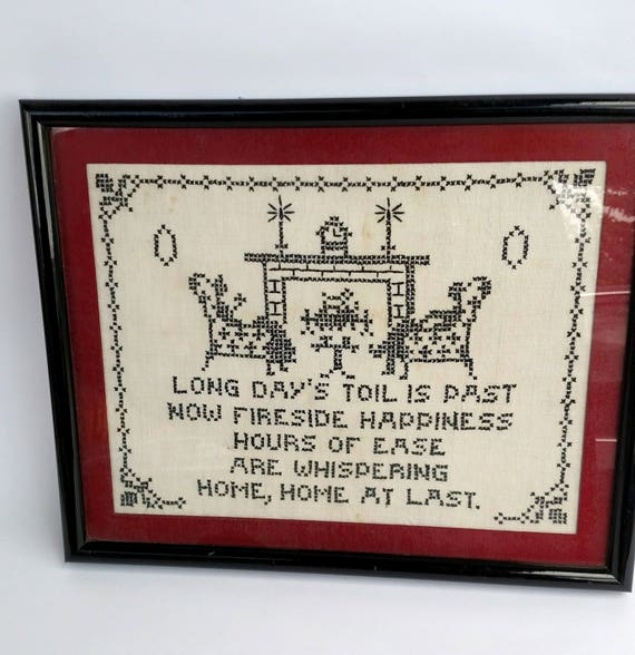 Vintage 1940's Framed Cross Stitch - Home At Last