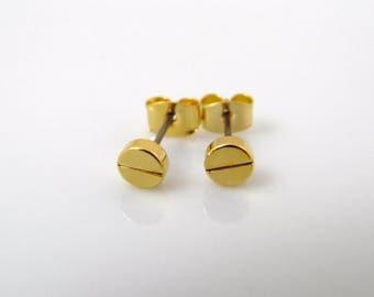 Screw top studs, screw stud earrings, gold screw, silver screw, small stud earrings