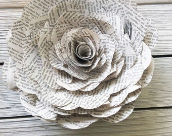 1 Large Book Page Flower, Paper Flowers,Book Flowers,Paper Roses,Paper Stem Roses,Eco Wedding Flower,DiY Wedding Flowers(ITEM:TPG73B3)