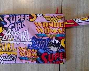 Pink Superhero zip wallet, make up purse, pouch, travel, loop handle, carrier, wrist strap - Wonderwoman/Supergirl/Batgirl