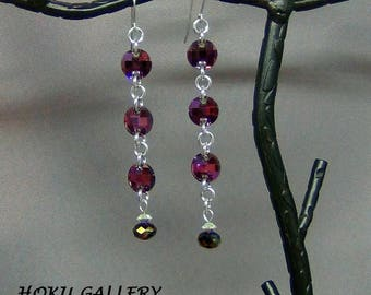 """Chainmaille / Swarovski Crystal Lilac Shadow, Earrings - Surgical Steel Earwires - 3.5"""" - Hand Crafted Artisan Jewelry"""