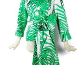 Reserved SAINT LAURENT RESORT Summer Wrap Top With Huge Long Obi Wrap Belt Size  34 Green and White Palm Print