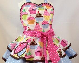 Girl's Cupcake Apron, Vintage Style Apron, Bakers Apron, Ready To Ship, Child's Apron