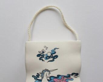 Vintage Unicorn Pattern Ceramic Gift Bag 1980s