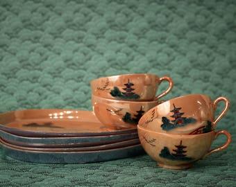 Vintage Teacup & Snack Plates Set