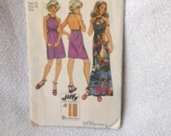 Retro 70's Halter Dress Maxi Mini Jiffy Pattern Simplicity 9927  Size 14  Easy