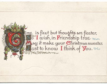 Old Shield decorated with Holly Leaves and Holly Berries accented with Fine Glitter Vintage Postcard Christmas