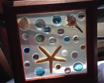 Mosaic Window, one of a kind, ocean themed, stained glass