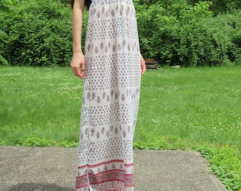 SUMMER SALE! here comes the sun - bohemian chiffon floral and paisley print strapless white maxi hippie festival wedding dress xs