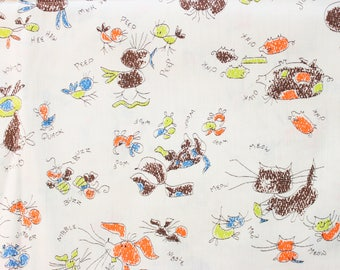 1960's Scribble Barnyard Animal Fabric with Cat Dog Pig Ducks Baby Pets cute Orange and Brown material childrens quilting 60s 1970s 70s