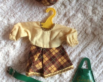 1950's Vogue Ginny doll clothes  dress with tam, green purse and belt