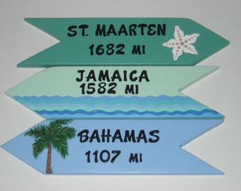 PERSONALIZED DIRECTIONAL SIGNS, Custom Handpainted Signs, Location Sign, Yard Art, 3 Signs set, Arrows, Destination Signs, Beach Signs