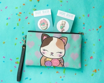 Cat Lovers Gift Set - Cat Makeup Bag Cat Pouch Kitty Kawaii Pouch Cat Clutch Cat Knitting Yarn Bag Cat Lover Gift Cat Enamel Pin Kitty Pin