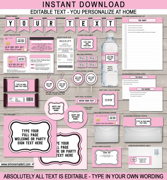 Mall Scavenger Hunt Party Invitations & Decorations - full Printable ...