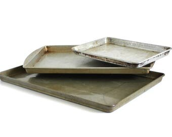"""Mirro Aluminum Cookie Sheet 5185M, Unmarked Jelly Roll Pan, Small Toaster Oven Baking Tray 11 1/2 x 7 1/2 x 7/8"""", Food Photography Prop"""