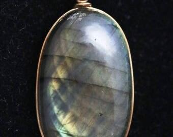 Labradorite pendant gold wire wrap 62ct