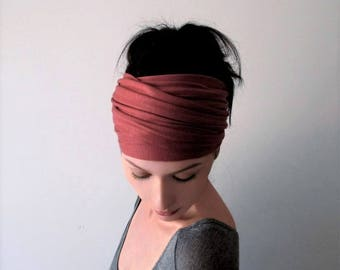 MARSALA Head Scarf, Headbands for Women, Extra Wide Headband, Reddish Pink Turban Head Wrap, Boho Headband, Jersey Headband, Turban Headband