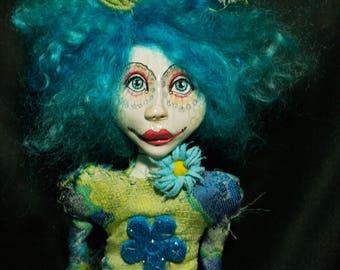 art doll, ooak, turquoise
