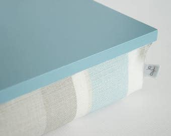 Pastel stripe pillow tray- pastel mint blue tray top with grey , off white and pastel aqua blue stripe structured pillow