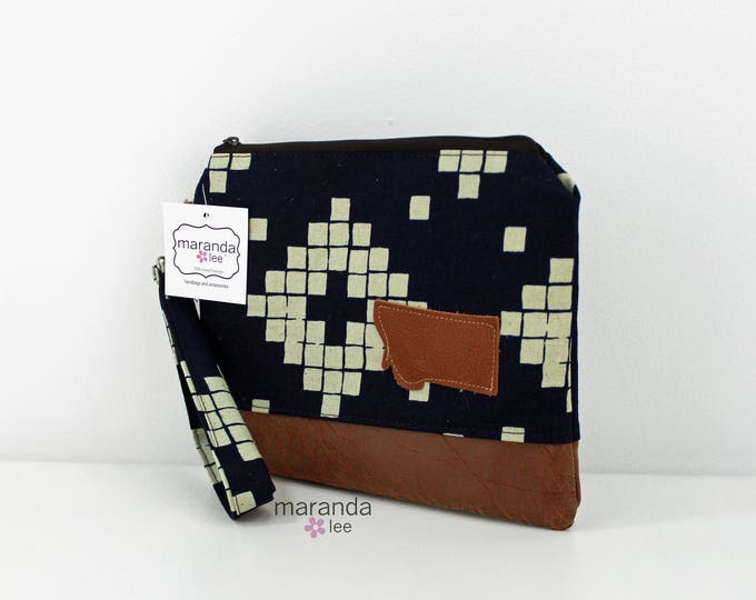 Flat Clutch Large Indigo Tiles with MT Patch PU Leather READY to SHIp