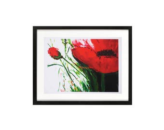 Red Poppies art print, large poppy painting, zen still life, red Poppy plant, floral modern Nature boho red floral print, nursery, bedroom