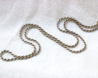 Sterling Silver Rope Chain 24 Inch 3mm Italian Necklace Vintage Thick Heavy Chain