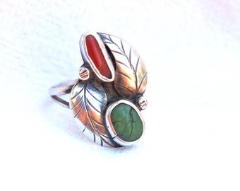 Red Coral Green Turquoise Ring Size 7 Vintage Sterling Silver Southwest Boho Jewelry Leaf Ring