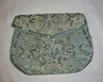 Vintage Beaded Ice Blue Evening Dance Clutch Purse