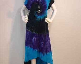Blue and purple bamboo featherweight tie dye dress with high-low hemline.