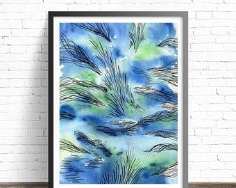 Water print. Watercolor nature print. Abstract Painting. Watercolor  Art print. Watercolor print. Abstract modern art