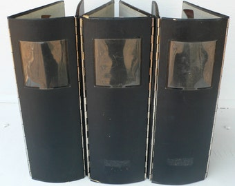 vintage notebooks, 3 ring binders, journals, group of 3, black, industrial office supply, from Diz Has Neat Stuff
